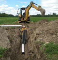 Tile drainage installation