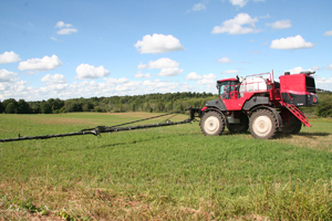 Applying biocontrol nematodes in Northern New York. Photo: Northern New York Agricultural Development Program