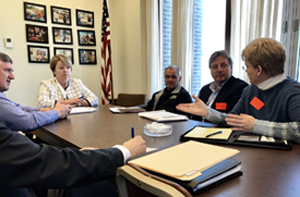 New York State Senator Patty Ritchie, who chairs the Senate Agriculture Committee, met with representatives of the farmer-driven Northern New York Agricultural Development Program to discuss opportunities to grow the regional ag industry. Photo: Courtesy of the Office of Senator Patty Ritchie