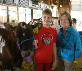 NYS Senator Betty Little with a youth exhibitor at the Clinton County Fair.