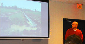 Miner Institute Research Agronomist Eric Young presents tile drainage project results at an NNYADP meeting.
