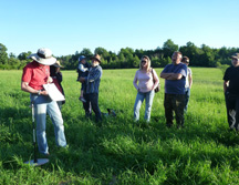 NNY beef producers learn how a rising plate meter works in a pasture walk demonstration with NNY Regional Livestock Team Leader Betsy Hodge, far left. Photo: CCE