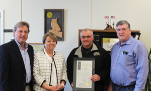 From left: Northern New York Agricultural Development Program Committee member, St. Lawrence County Legislature Chair, and farmer Kevin Acres, Senator Patty Ritchie, NNYADP Committee member and New York Farm Bureau President David Fisher, and Jon Greenwood, farmer and Co-Chair of the Northern New York Agricultural Development Program. Photo: NNYADP