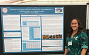Cornell Cooperative Extension regional dairy specialist Lindsay Ferlito with the calf respiratory health project poster at the 2017 American Dairy Science Association meeting. Photo: Kimberley Morrill